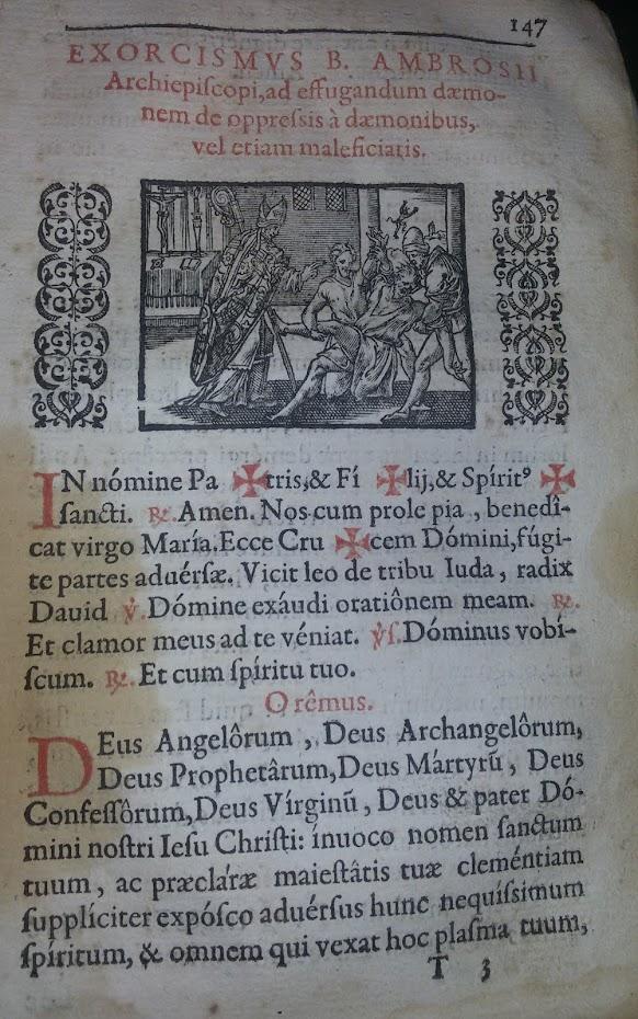 GRABADO DE UN EXORCISMO SIGLO XVII
