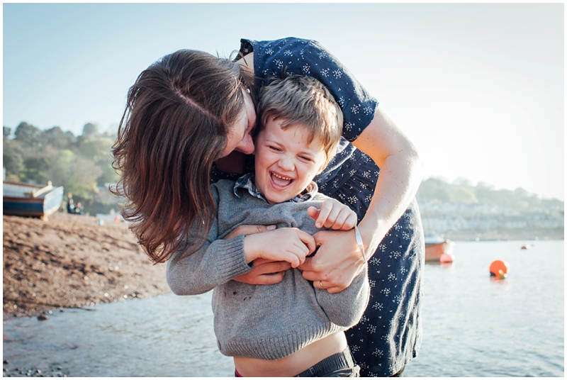 Helen Lisk with her youngest son by the sea