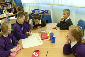 Students participating in group learning