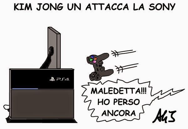 Sony, Kim jong un, CIA, playstation, satira, vignetta