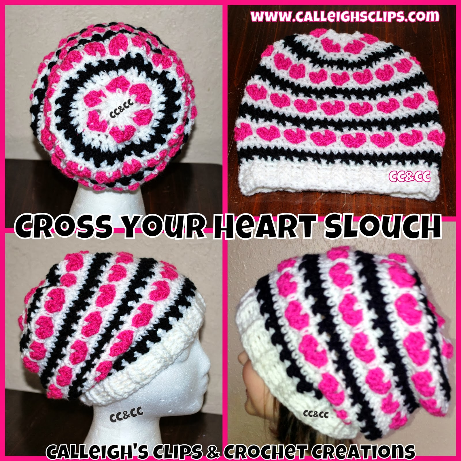 Free Crochet Heart Hat Pattern : Calleighs Clips & Crochet Creations: Cross Your Heart ...