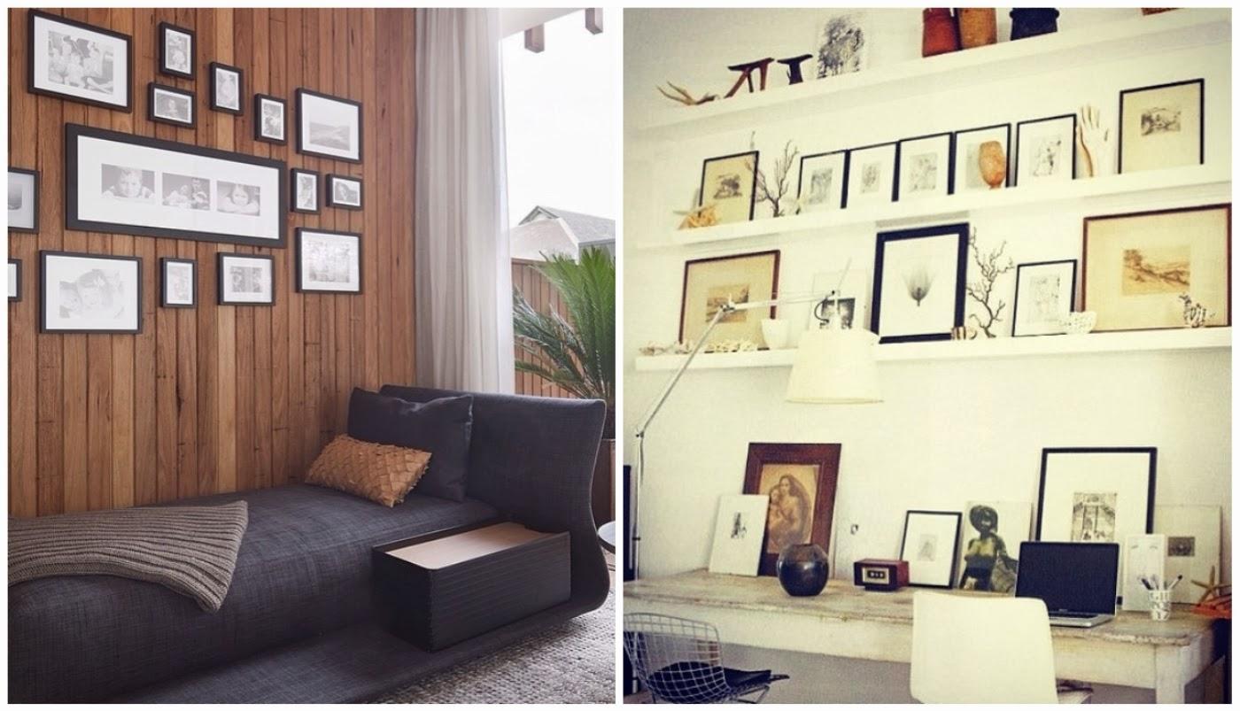 composição de quadros P&B @interioresdesigndecoracao e prateleiras estreitas @coisasdadoris