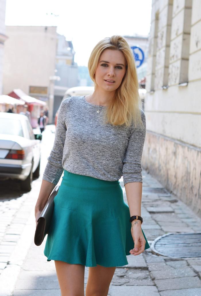 spódnica falbanka zielona blog blogerka wiosna poznań