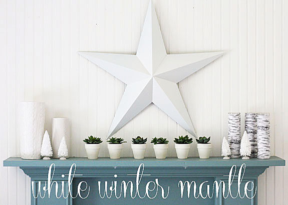 white winter mantle - Christmas Decorating On A Dime