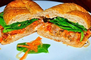 Turkey sandwich with carrot sambal relish photo by jeffreyw