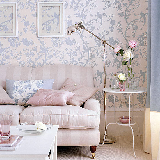 New home interior design good collection of living room for Pink living room wallpaper