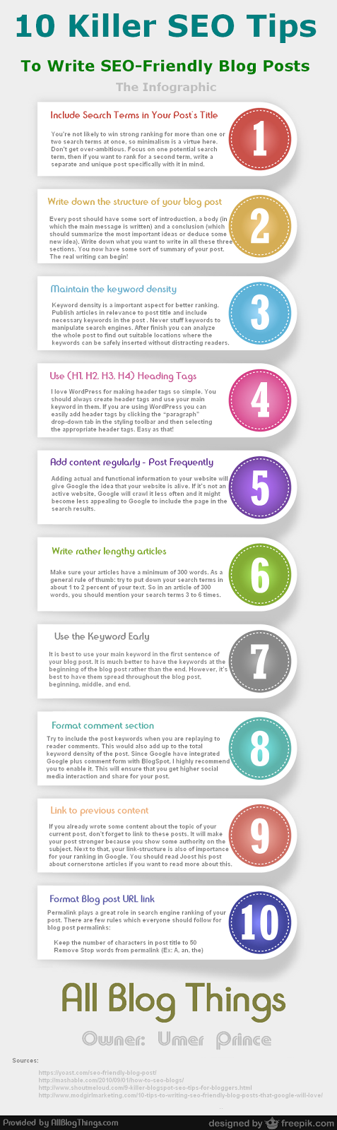 Infographic: 10 Killer SEO Tips To Write SEO-Friendly Blog Posts