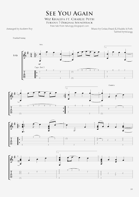 Hmmm: Fingerstyle Guitar Tabs - See You Again (Wiz Khalifa ft ...