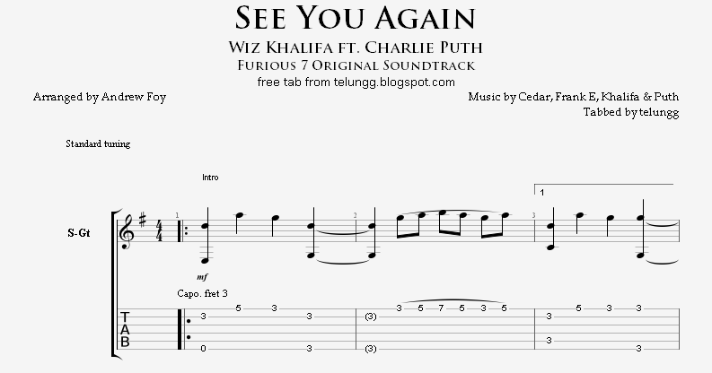 Hmmm: Fingerstyle Guitar Tabs - See You Again (Wiz Khalifa ft. Charlie Puth) - Andrew Foy