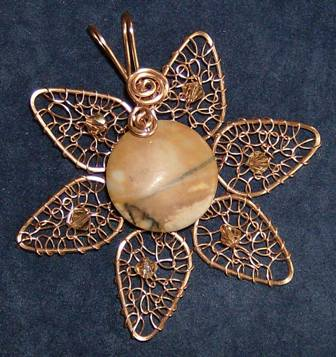 Copper flower with semi precious stone and crystals