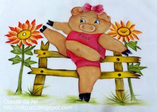 """""""pintura porquinha fazendo ginastica"""""""