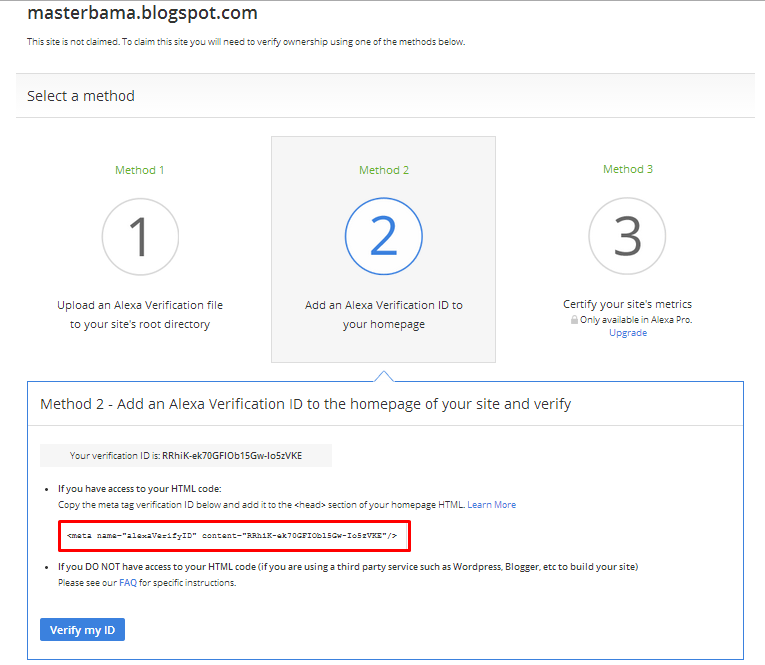 Cara Claim Site Alexa (Mengklaim Blog Di Alexa)