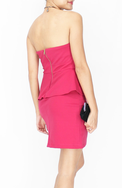 Cerise Pink Sweetheart Party Peplum Dress in Colour Block
