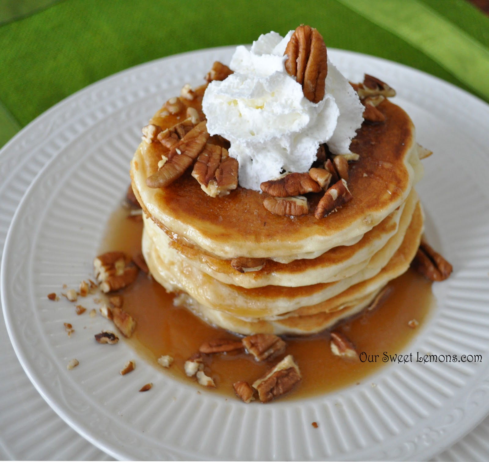 and these apple pancakes are so good with the apple syrup i like