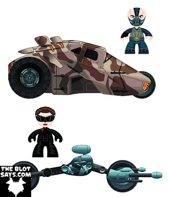 The Dark Knight Rises Mini Mez-Itz Vehicle Sets by Mezco Toyz - Bane with the Tumbler & Catwoman with the Bat-Pod