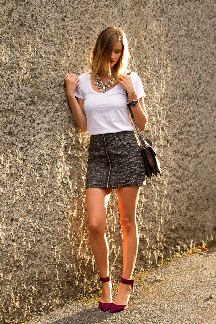 Vancouver Fashion Blogger, Alison Hutchinson, wearing a witchery plain white t shirt, Aritzia grey bodycon skirt with zipper in front, burgundy zara ankle strap neels, botkier silver valentina bag, and j.crew crystal bib neckalce