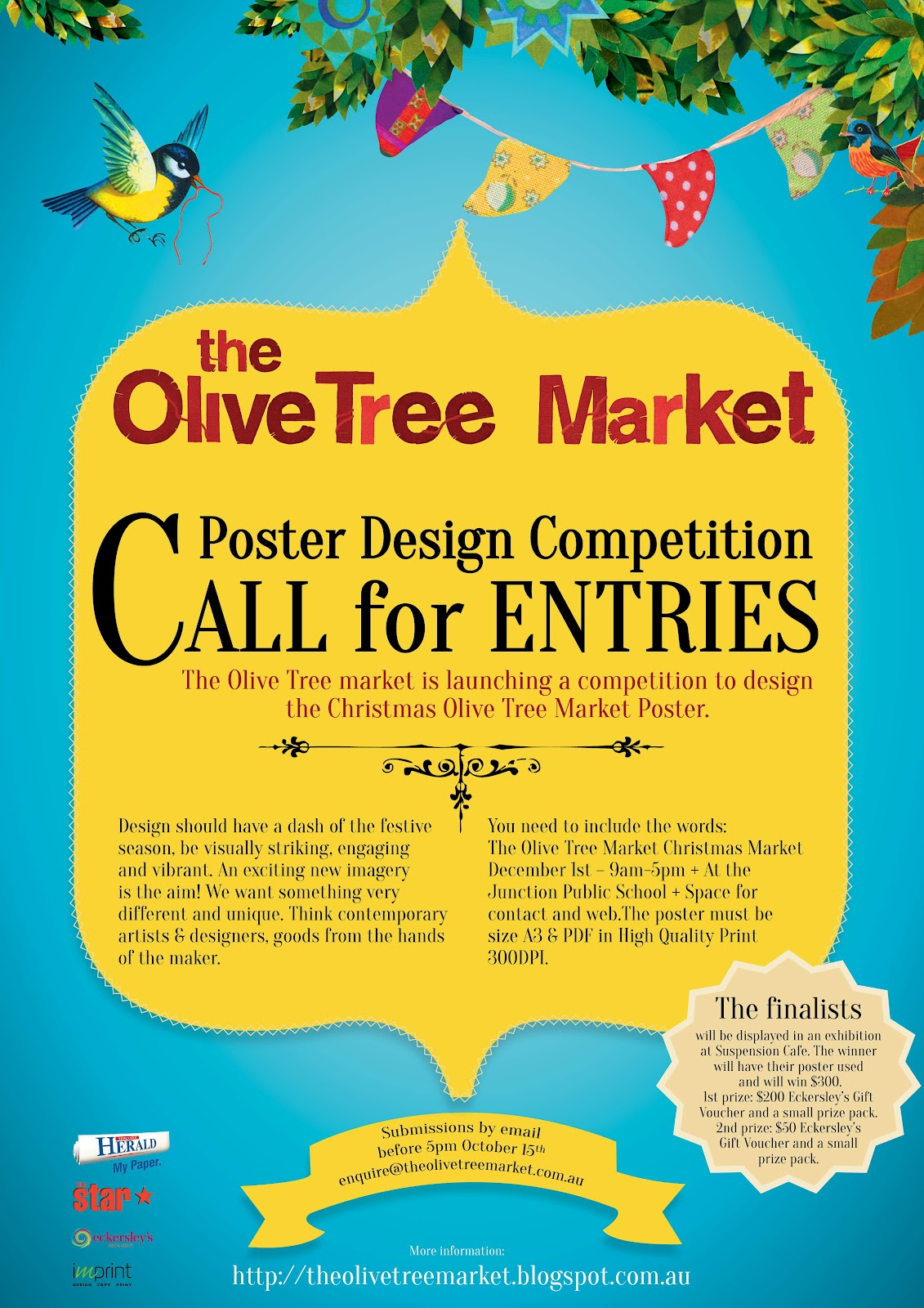 Poster design competition - The 2nd Place Will Win A 50 Eckersleys Gift Voucher Small Prize Pack 50 Olive Tree Market Gift Voucher So Start Thinking And We Can T Wait To See