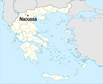 a greek wine that's hard to figure out (in a good way) naoussa Naoussa Greece Map xinomavro a native red grape that's said \u201cksee noh mah vroh\u201d it literally means \u201cacid black\u201d and when it's badly made it tastes as bad as it sounds naoussa greece wine