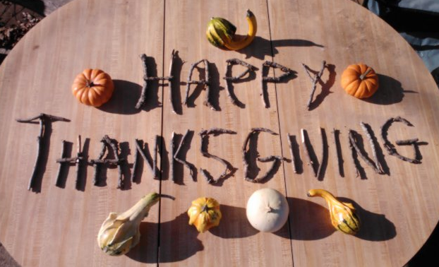 "The words ""Happy thanksgiving"", made using black walnut twigs.  Mini pumpkins and gourds accent it."