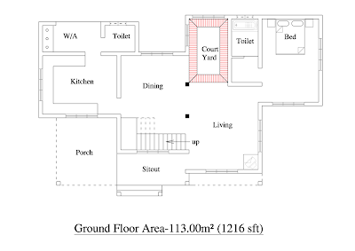 : 2000 sqft 3BHK House Plan Kerala Home floor plans with photo