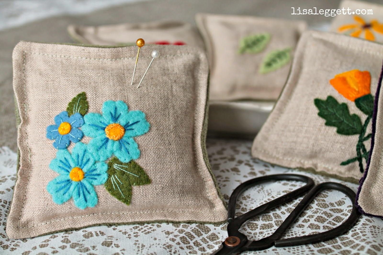 Linen Forget-Me-Nots Pincushion
