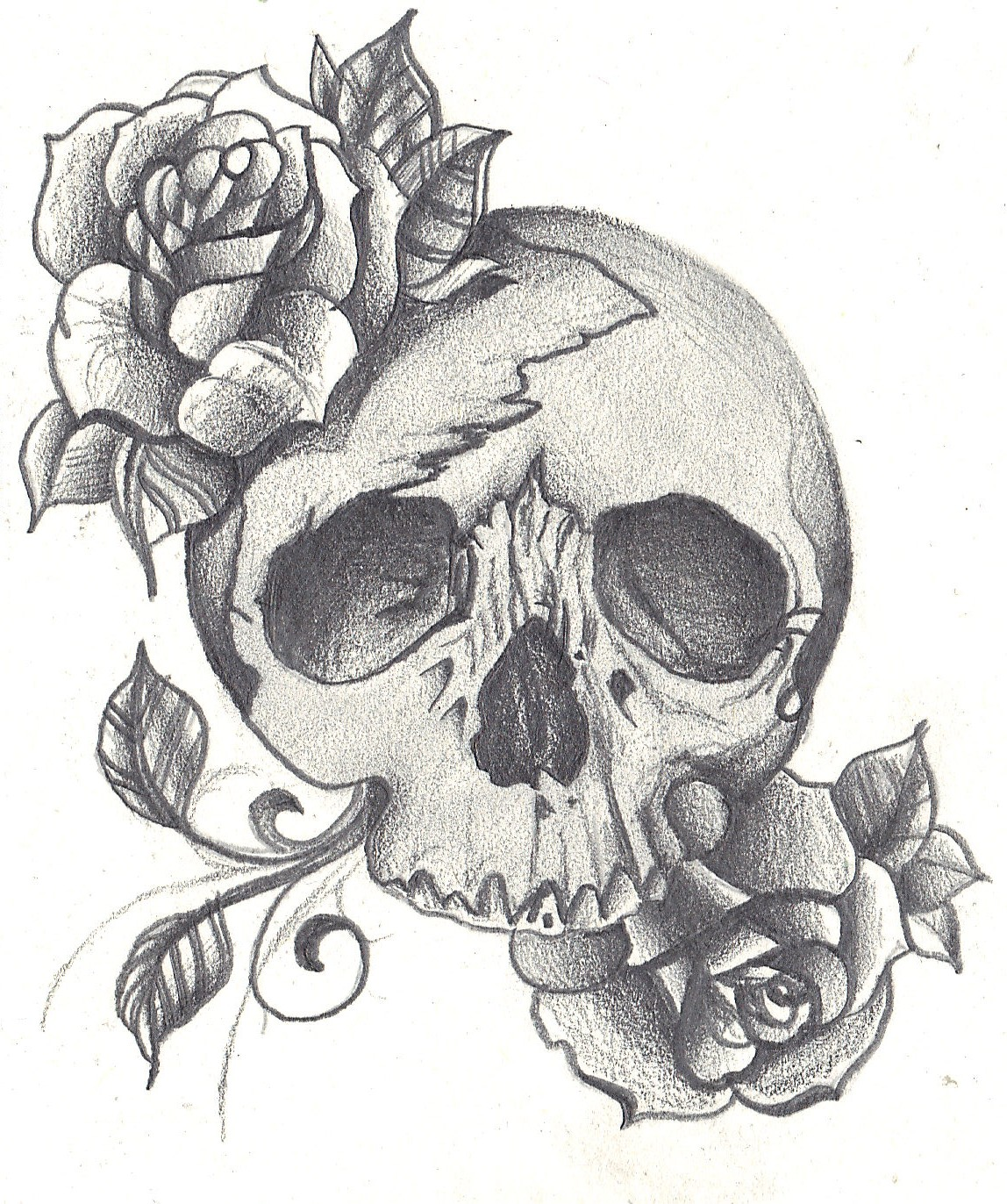 skull surrounded by roses, shaded in using tonal pencils. Added