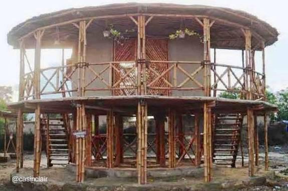 arquitectura de casas casa tropical redonda hecha de bamb