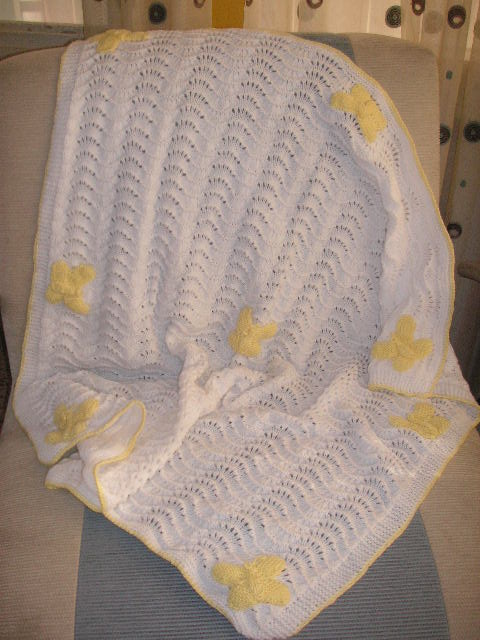 Butterfly Baby Blanket Knitting Pattern : Knitting Galore: Butterfly Baby Blanket