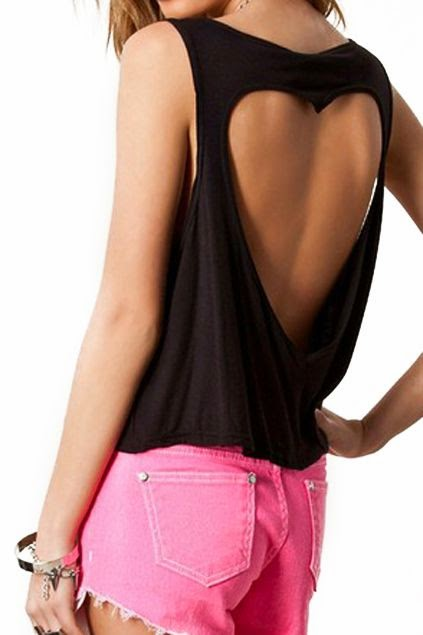 Heart Cut-out Midriff Loose Black Blouse