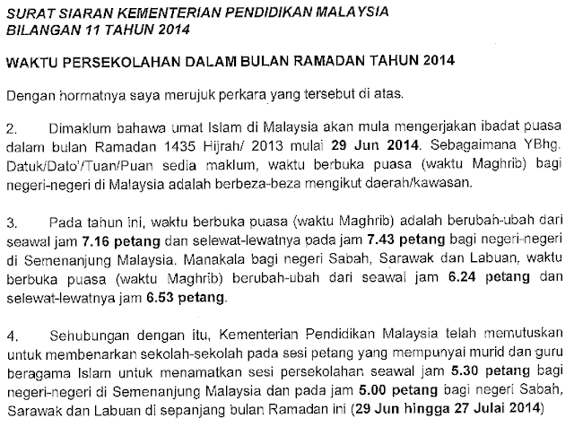 Waktu Persekolahan Bulan Ramadan Kementerian Pendidikan Malaysia KPM