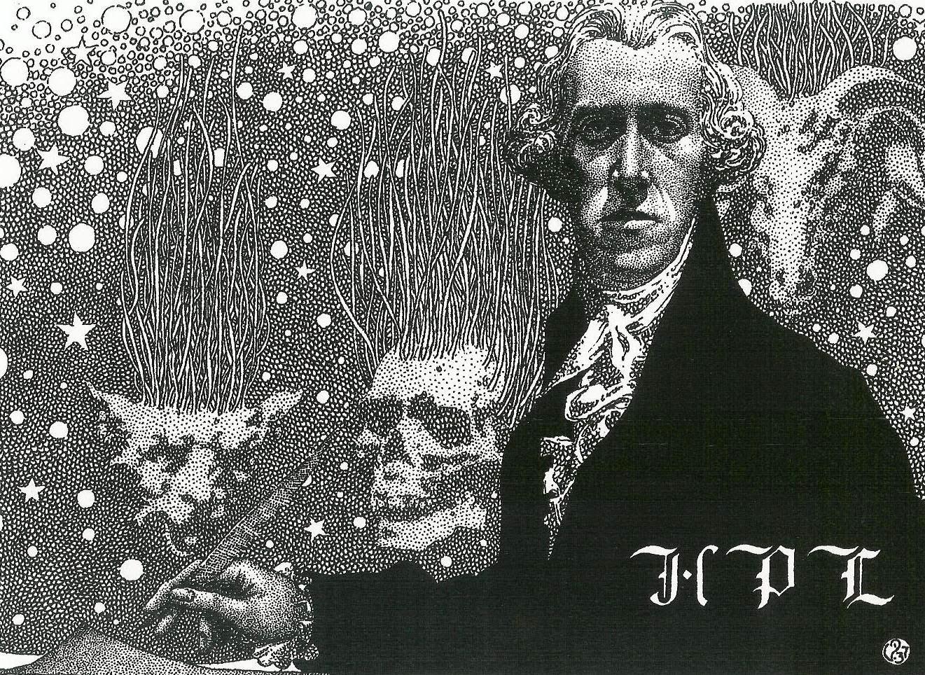 Tribute To Lovecraft, ilustración de Virgil Finlay que representa a H. P. L. vestido a la usanza del Siglo de las Luces (el siglo favorito de Lovecraft), publicada en 1937, al morir el escritor, en Amateur Correspondant