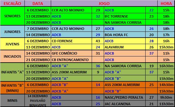 AGENDA - JOGOS OFICIAIS - DEZEMBRO 2014