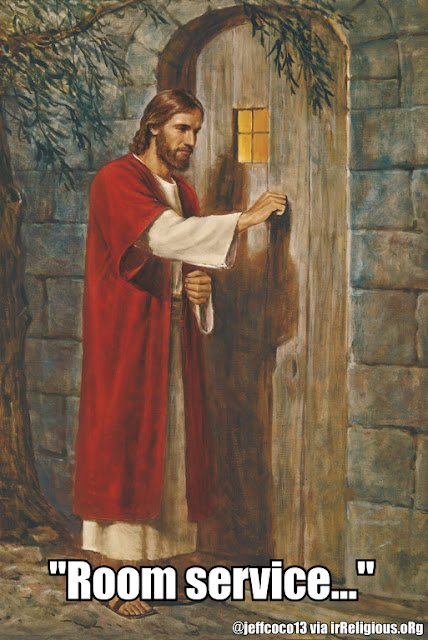 Funny Jesus Knocking Room Service Religous Meme Picture