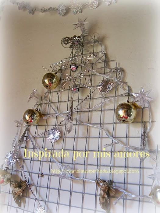 Inspirada por mis amores decoraci n navide a sobre la - Arbol de navidad de alambre ...