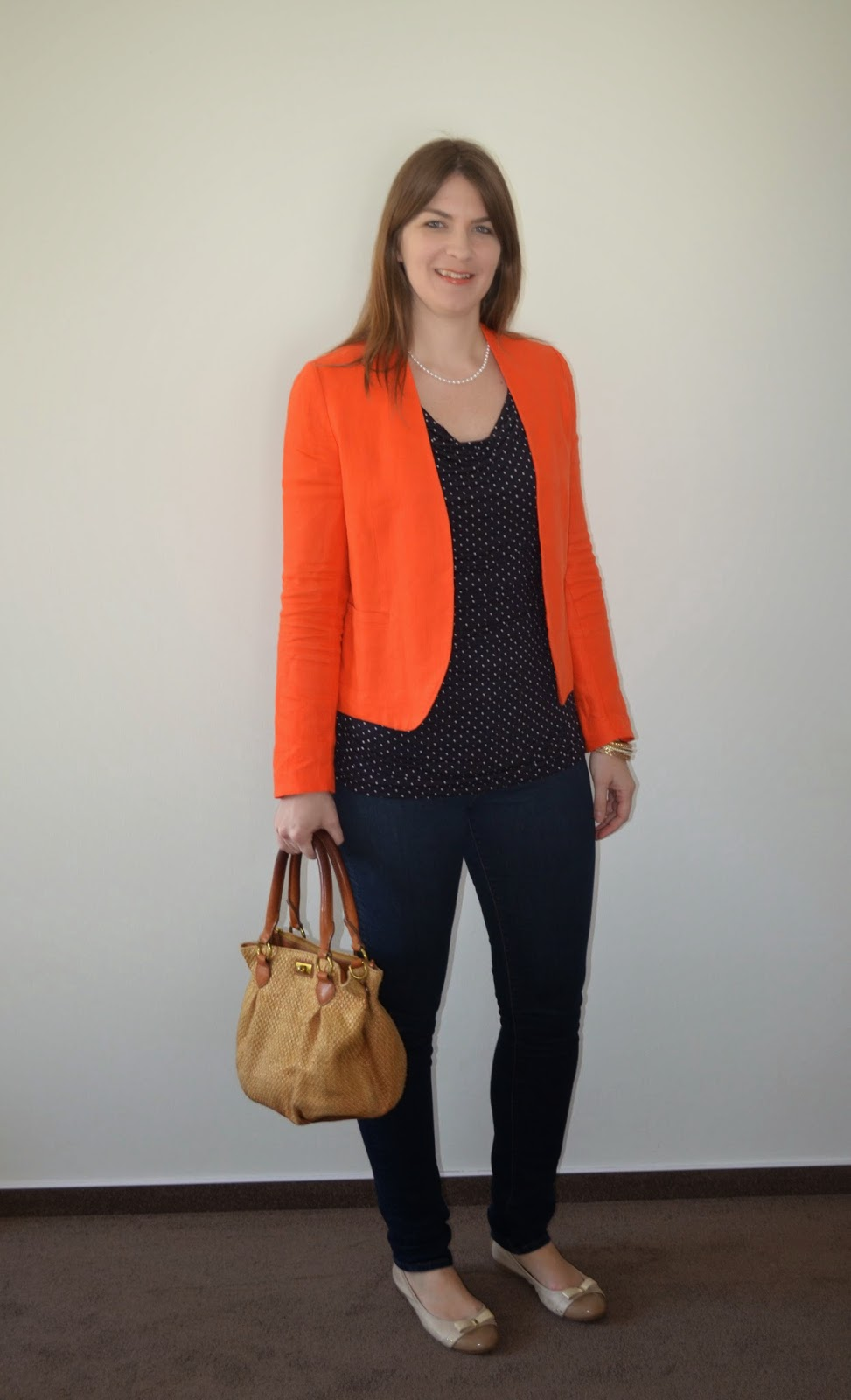 Review of Long Tall Sally Polka Dot Top, Tall Loft Blazer, Tall Banana Republic Skinny Jeans,