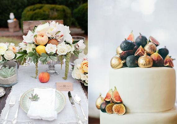 mesa decorada com frutas diversas, figo e pêssego