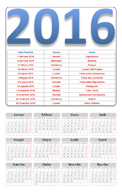 Calendario 2016 annuale con festività
