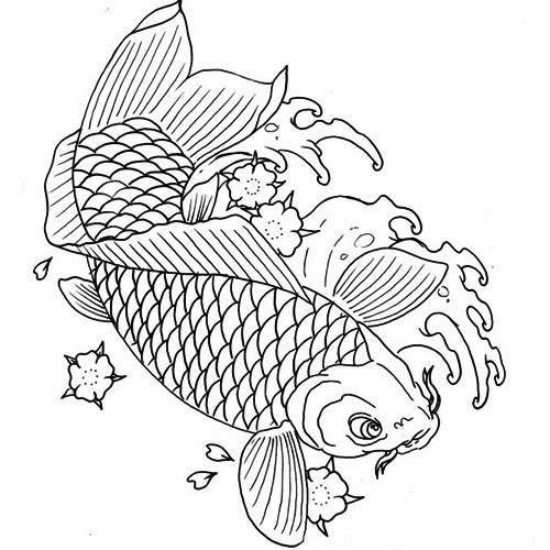 Koi fish and flowers tattoo stencil