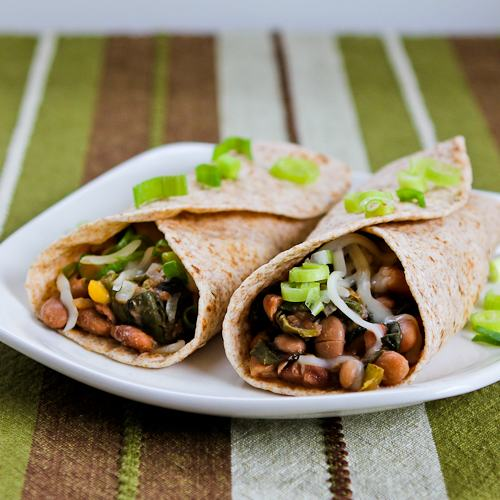 Slow Cooker Spicy Vegetarian Pinto Bean and Chard Burritos
