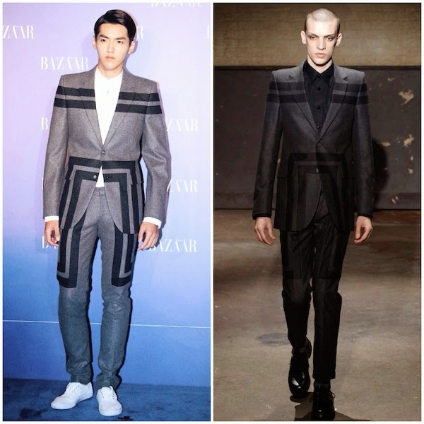 Kris Wu Yifan 吴亦凡 wears Alexander McQueen Fall Winter 2014 geometric patchwork suit to Harpers Bazaar Charity Night 19th September 2014 Beijing