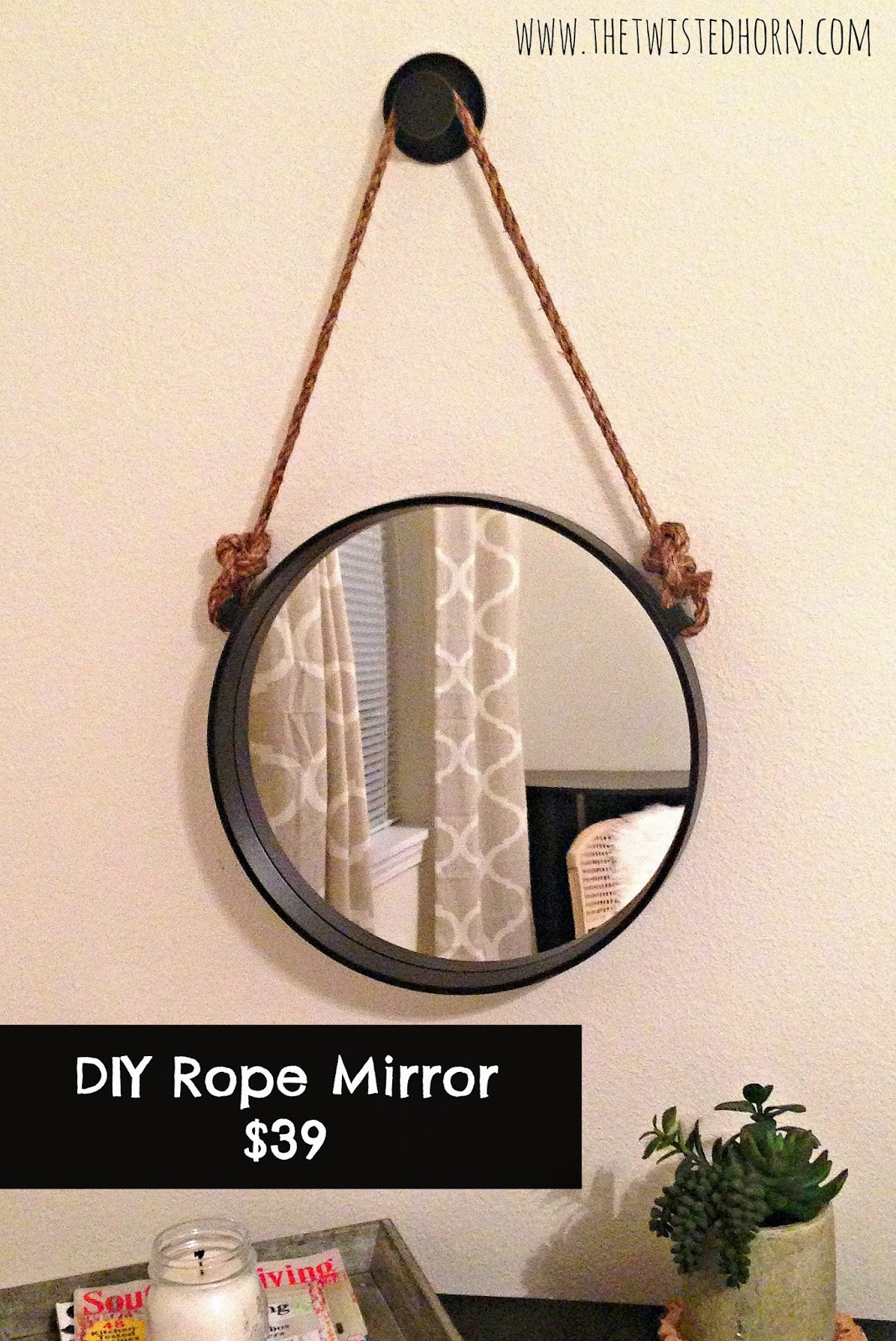 Look for less hanging rope mirror for Hanging mirror