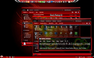 THEME WINDOWS 7 WIN 8 RED METAL GLASS