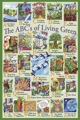 The ABC's of Living Green shows many ways to live a more eco friendly lifestyle.