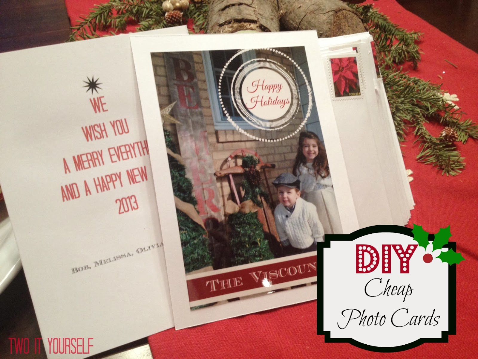 Two it yourself diy cheap photo cards for christmas kristyandbryce Images