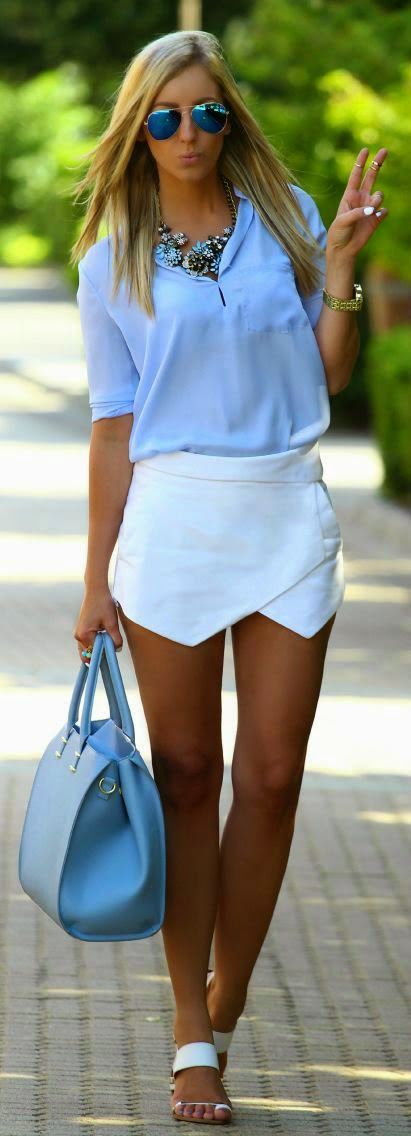 White Blue Street Fashion summer outfits