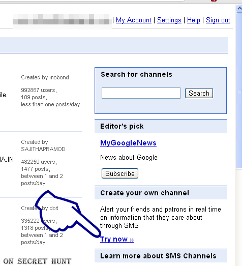 google sms channel2 How to Create Google Labs SMS Channels