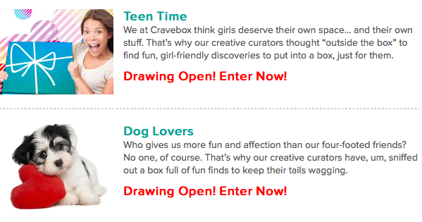 Cravebox Drawing Open: Teen Time and Dog Lover Boxes Available