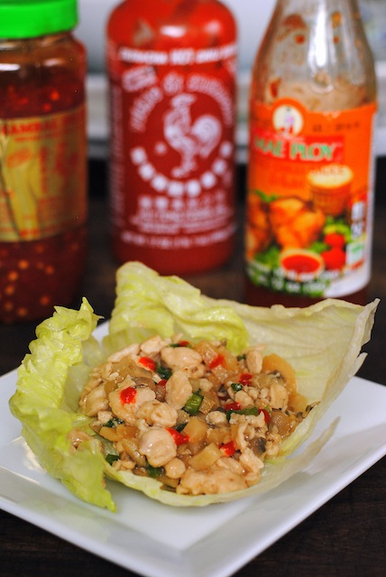 Chicken Lettuce Wraps with Asian Condiments - a great party food that can be kept warm in a slow cooker!
