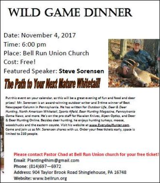 11-4-2017 Wild Game Dinner Bell Run Church