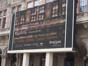 "Advertisement board of ""RIGOLETTO"" on Vienna State Opera  building."